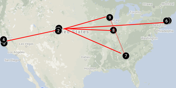 A map showing the 9 national research sites spanning the country with University of Colorado as the incubator hub