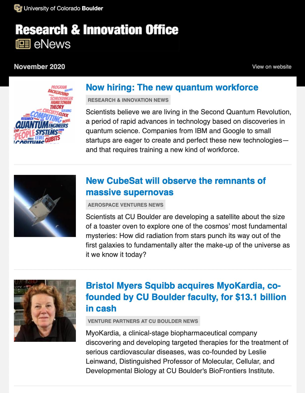 eNews example (screenshot)