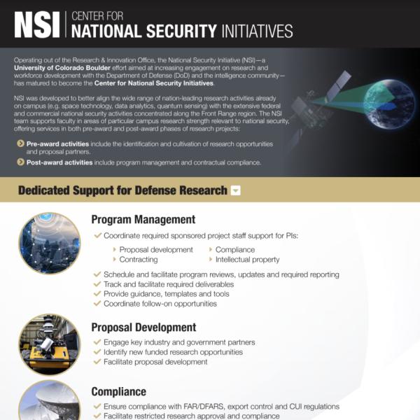 CU Boulder: NSI Overview (for Faculty)