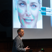 Corey Neu pitching his new innovation next-generation dermal fillers