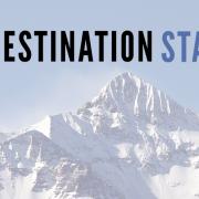 destination startup logo with mountain