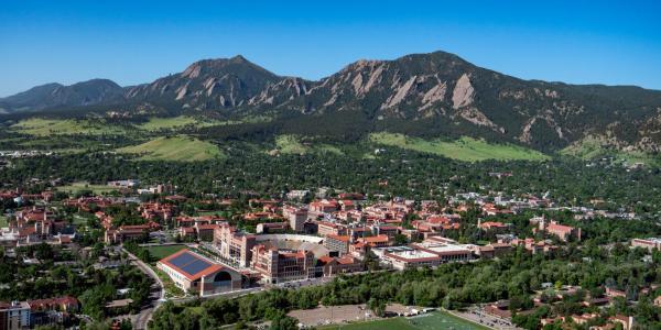 CU Boulder aerial shot