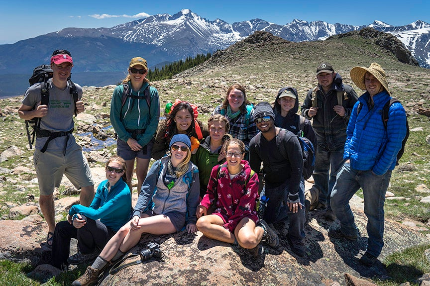 REU group enjoys a hike in Rocky Mountain National Park
