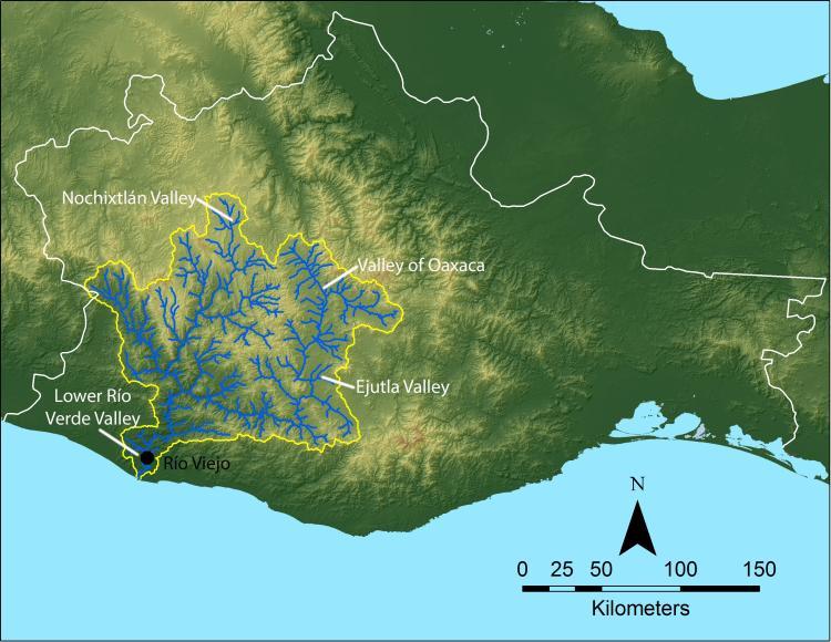 Río Verde drainage basin, Oaxaca, Mexico. / Sistema de drenaje del Río Verde, Oaxaca, México.
