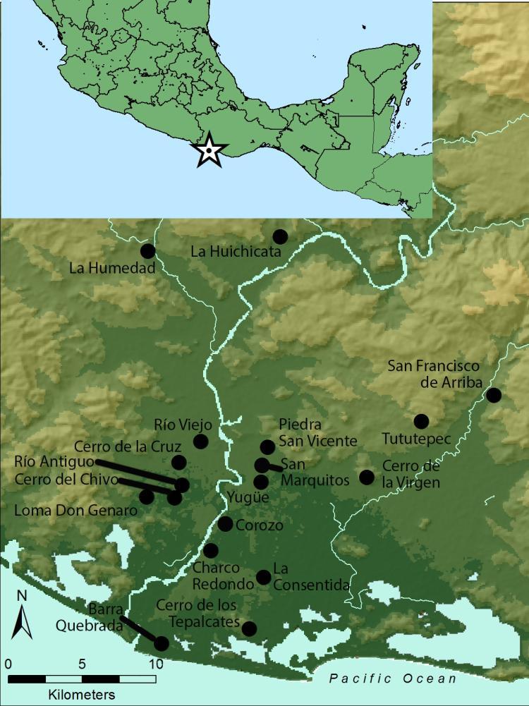 Map of the lower Río Verde Valley showing archaeological sites. / Mapa del valle del bajo Río Verde mostrando sitios arqueológicos.