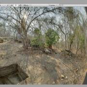 Rio Verde Virtual Field Experience game with dome view. / Juego 'Rio Verde Archaeology Virtual Field Experience' con vista de domo.