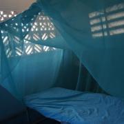 Archaeologists quarters - a cot, sheets and a net. / Casa de los arqueologos: una cama, sabanas, y una mosquitera