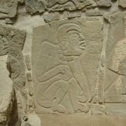 Monuments depicting autosacrifice invoking ancestors at Monte Albán. / Monumentos mostrando autosacrificio invocando a ancestros en Monte Albán.