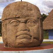 Olmec colosal head. / Cabeza colosal olmeca.