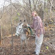 Stacy Barber with pack mule / Stacy Barber con un burro cargando material
