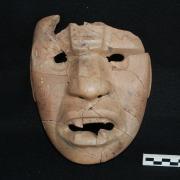 Rain Deity Mask from Cerro de la Virgen. / Máscara de diedad de la lluvia encontrada en Cerro de la Virgen.