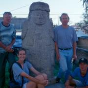 Ray Mueller, Art Joyce, Stacy Barber, and Marc Levine at Jamiltepec in 2000. / Ray Mueller, Art Joyce, Stacy Barber, y Marc Levine en Jamiltepec en el año 2000.