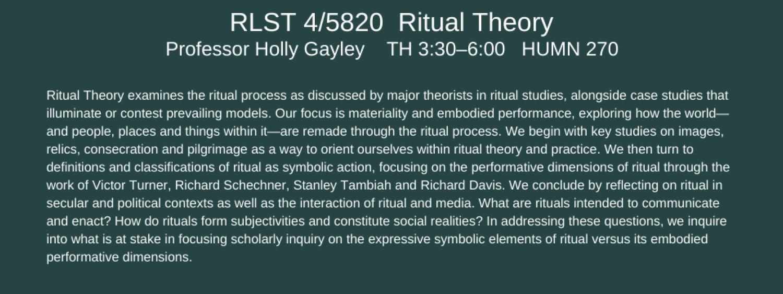 RLST 4/5820 ritual theory
