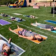 yoga on lawn