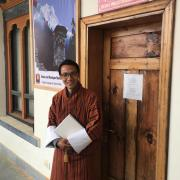Sonam Nyenda at the Bhutan and Himalayan Research Center in Takse