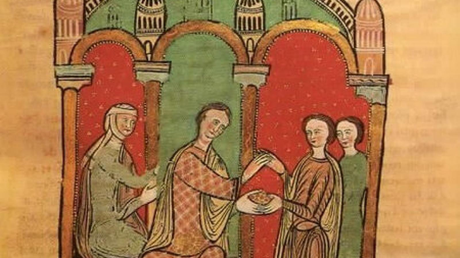 Ramon Berenguer I of Barcelona and his wife, Almodis de la Marche, counting out 2,000 ounces of gold coins as payment to William Raymond and Adelaide, count and countess of Cerdanya, in return for their rights over Carcassonne in 1067.