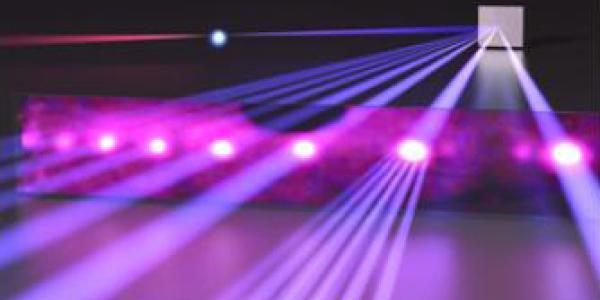 Violet-colored laser beams