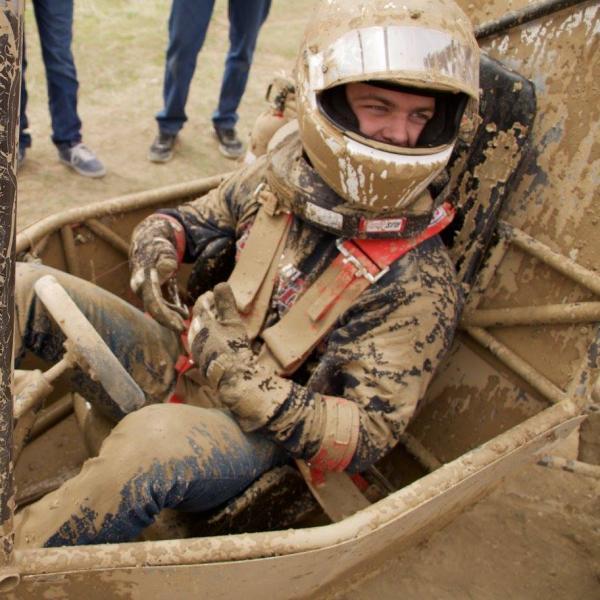 Scott after driving through mud