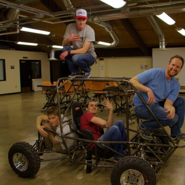 Team with the rolling chassis