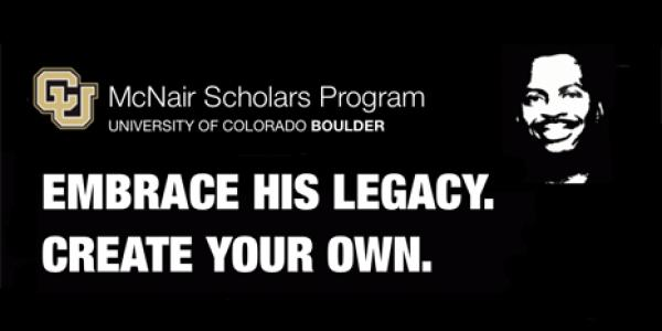 "Black and white image of Ronald E. McNair with ""Embrace his legacy. Create your own."""