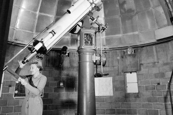 10.5-inch Bausch Refracting Telescope with the first SBO manager, Dorothy Trotter