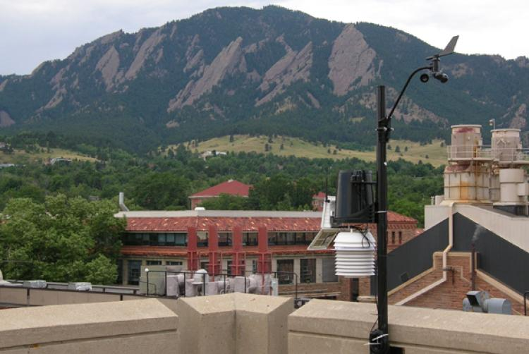 CU Boulder Weather Station on the roof of the Duane Physics Building