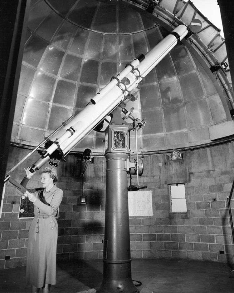 10.5-inch Bausch Refracting Telescope with the first manager, Dorothy Trotter