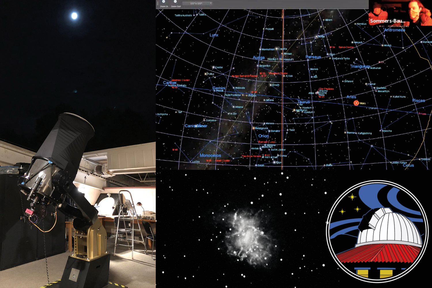 Screen Shot of SBO Virtual Open House with on observing software in view and telescope operators top left
