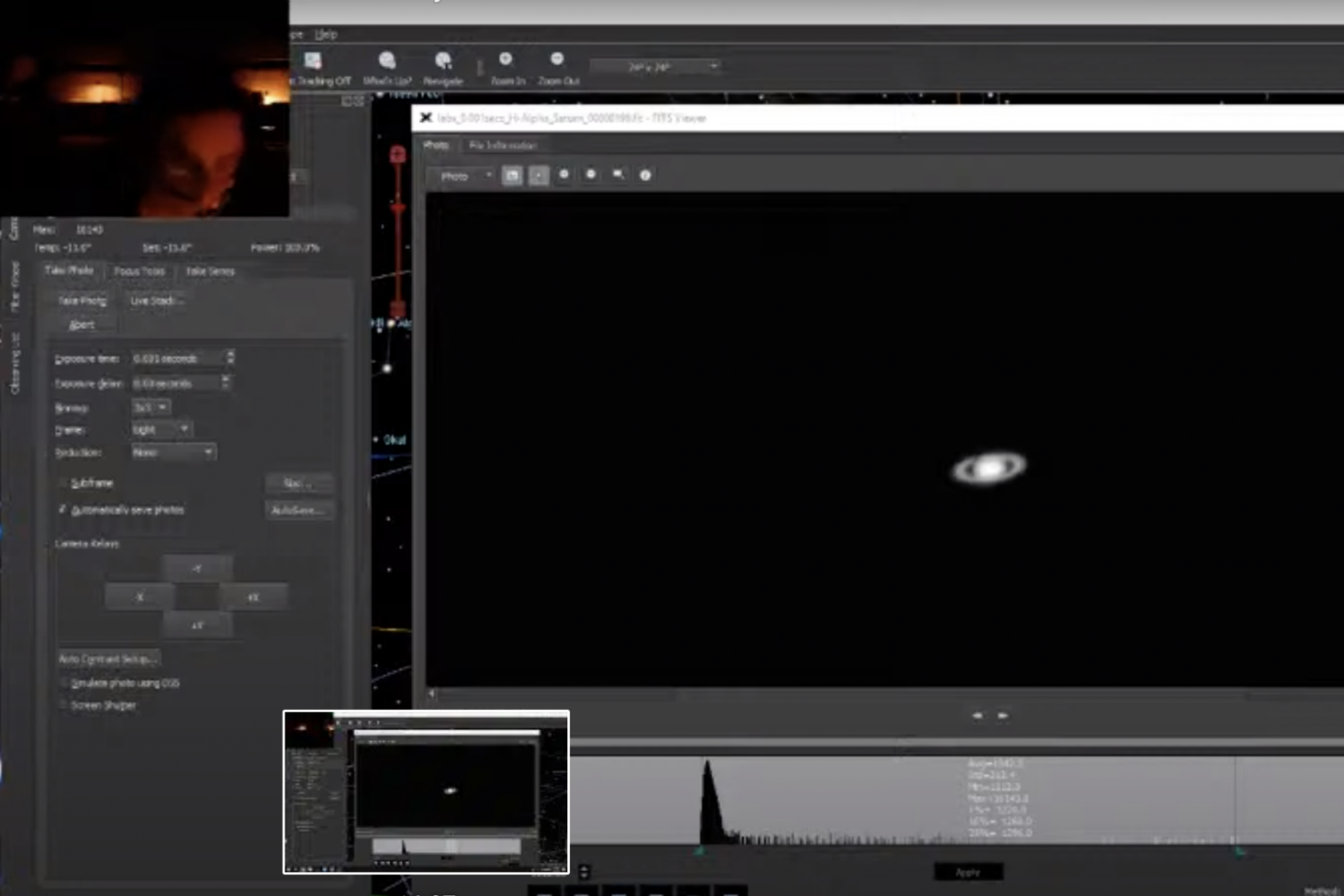 Screen Shot of SBO Virtual Open House with Saturn in view and telescope operators top left