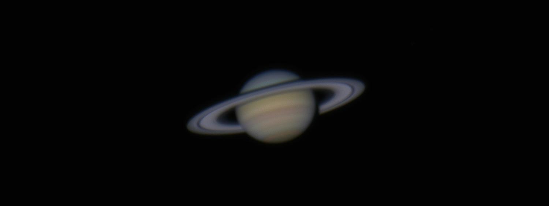 Saturn seen through a telescope
