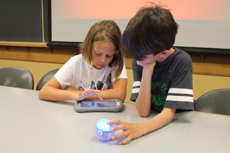 boy and girl programming a sphero
