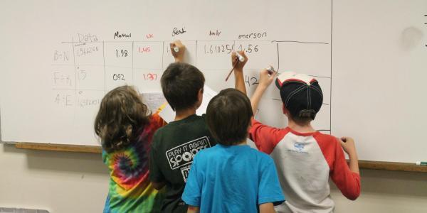 boys doing math problem on whiteboard.