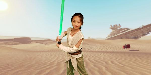 girl with lightsaber