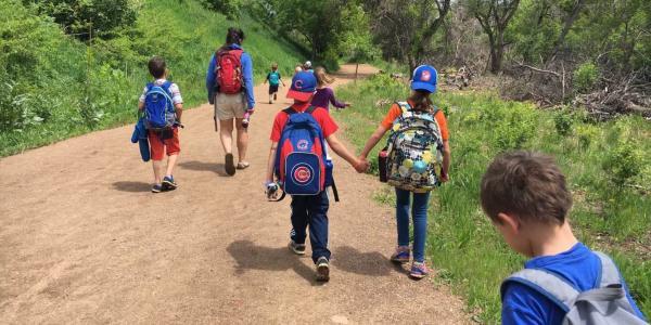 kids hiking together