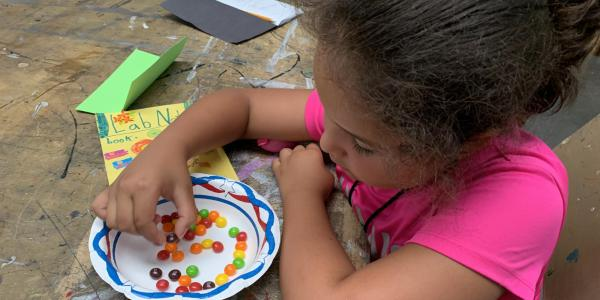 girl doing experiment with Skittles