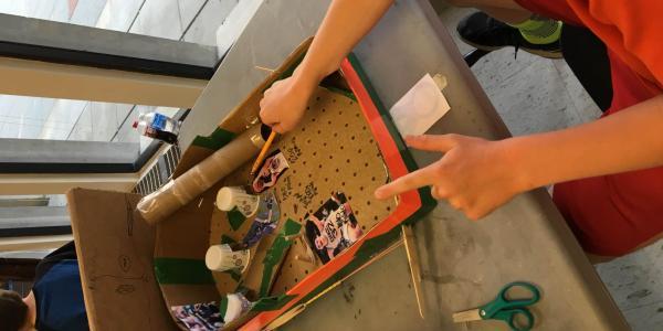 close-up of handmade pinball game