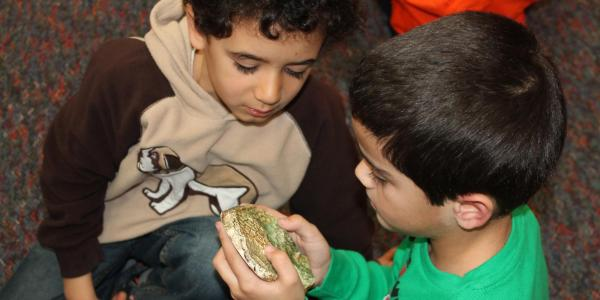 2 boys looking at a fossil
