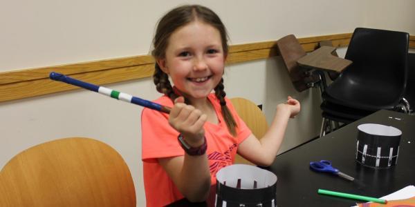 girl with handmade wand