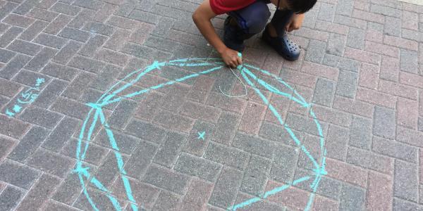 doing math with sidewalk chalk