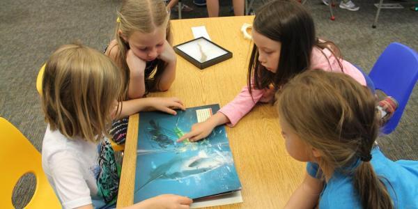 girls looking at ocean book