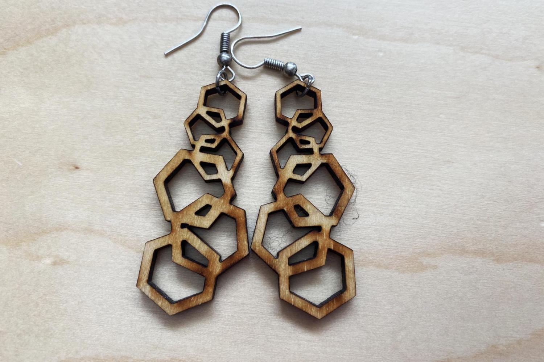Laser Cut Earrings cascading hexagons