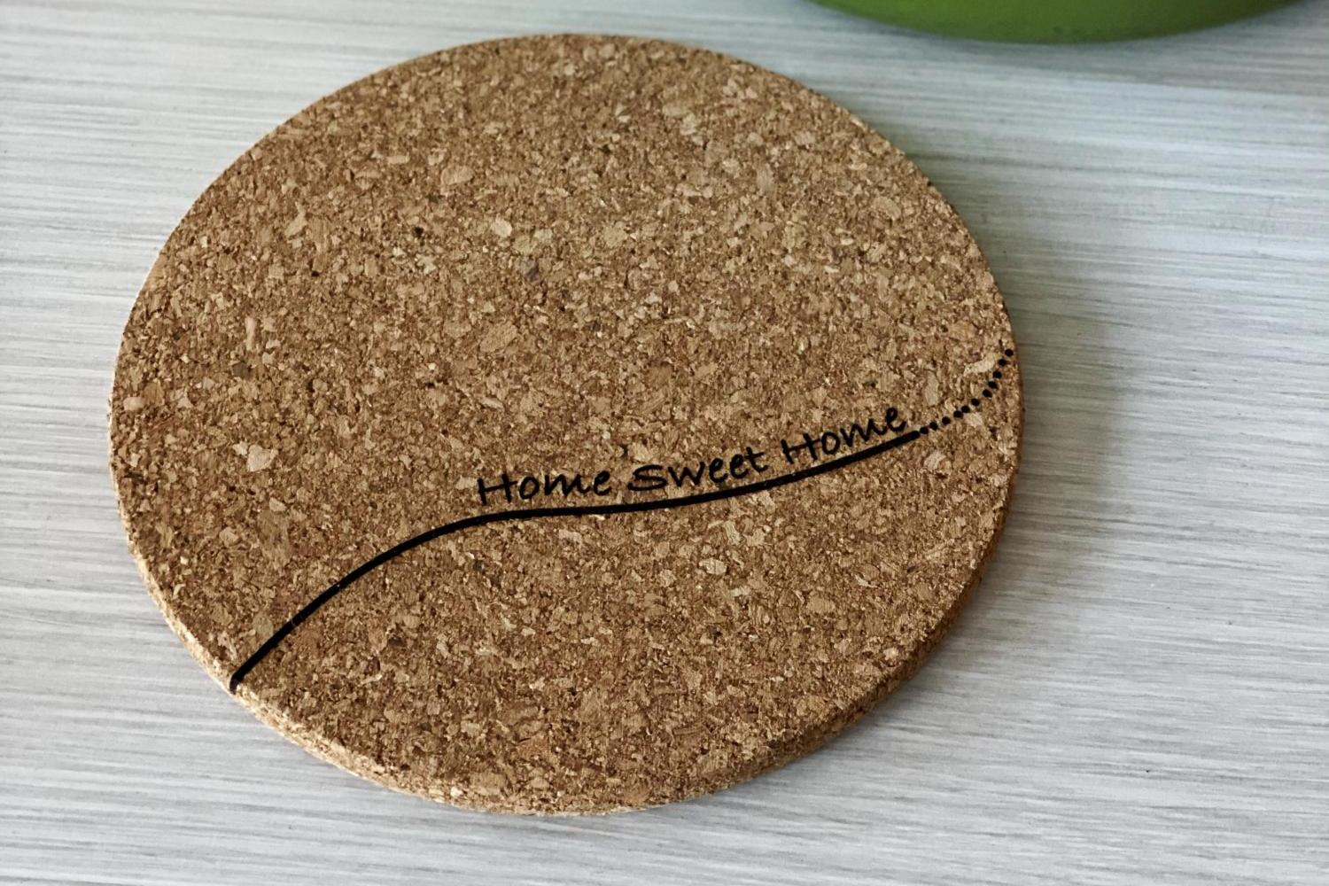 trivet with home sweet home on it
