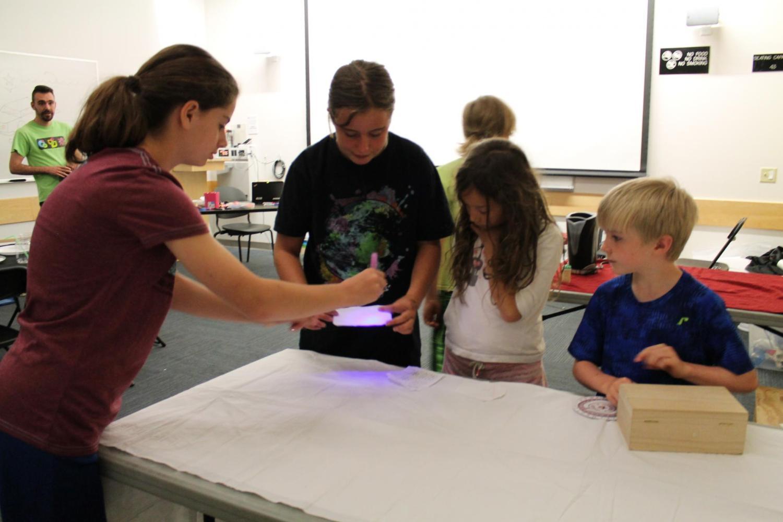 Girls using blacklight pen to read message