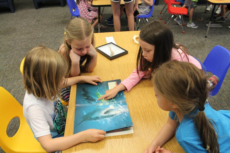 group of girls looking at ocean book
