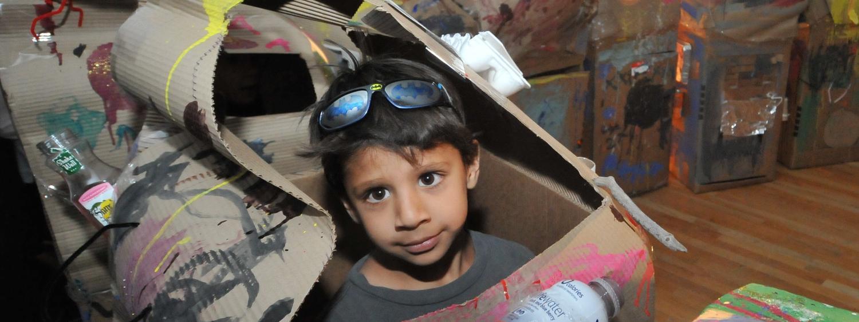 boy in handmade rocket