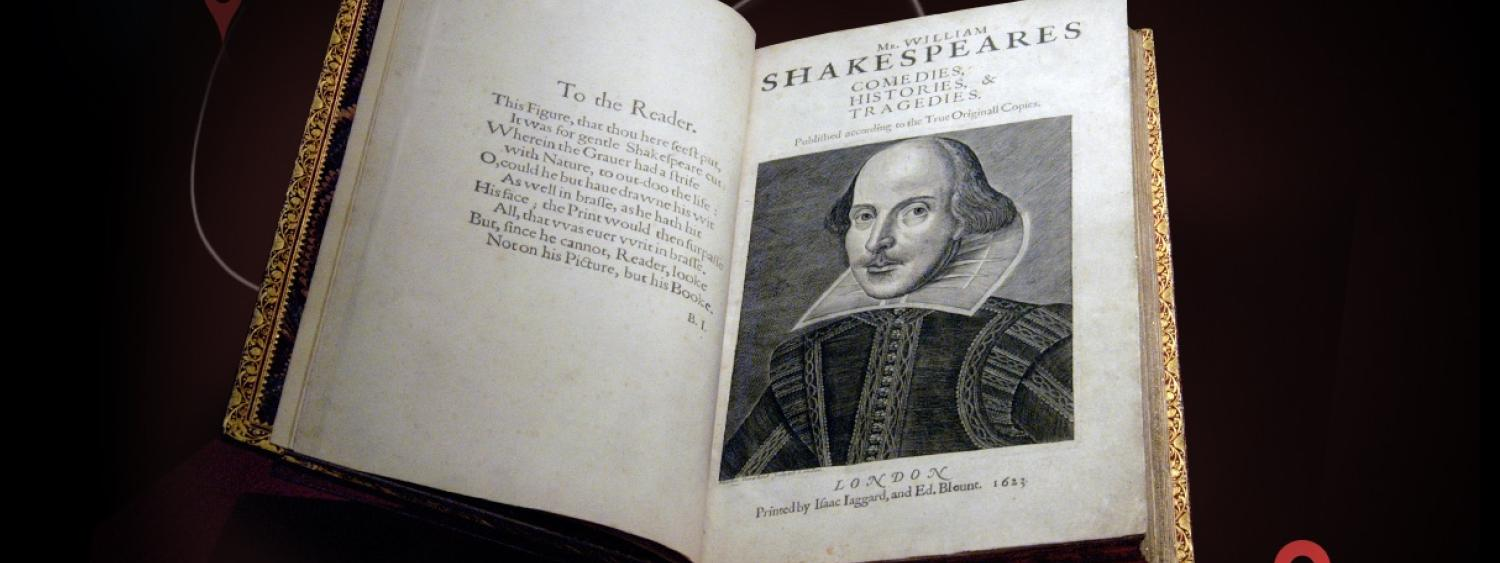 an image of Shakespeare's First Folio opened to a page with an illustration of William Shakespeare