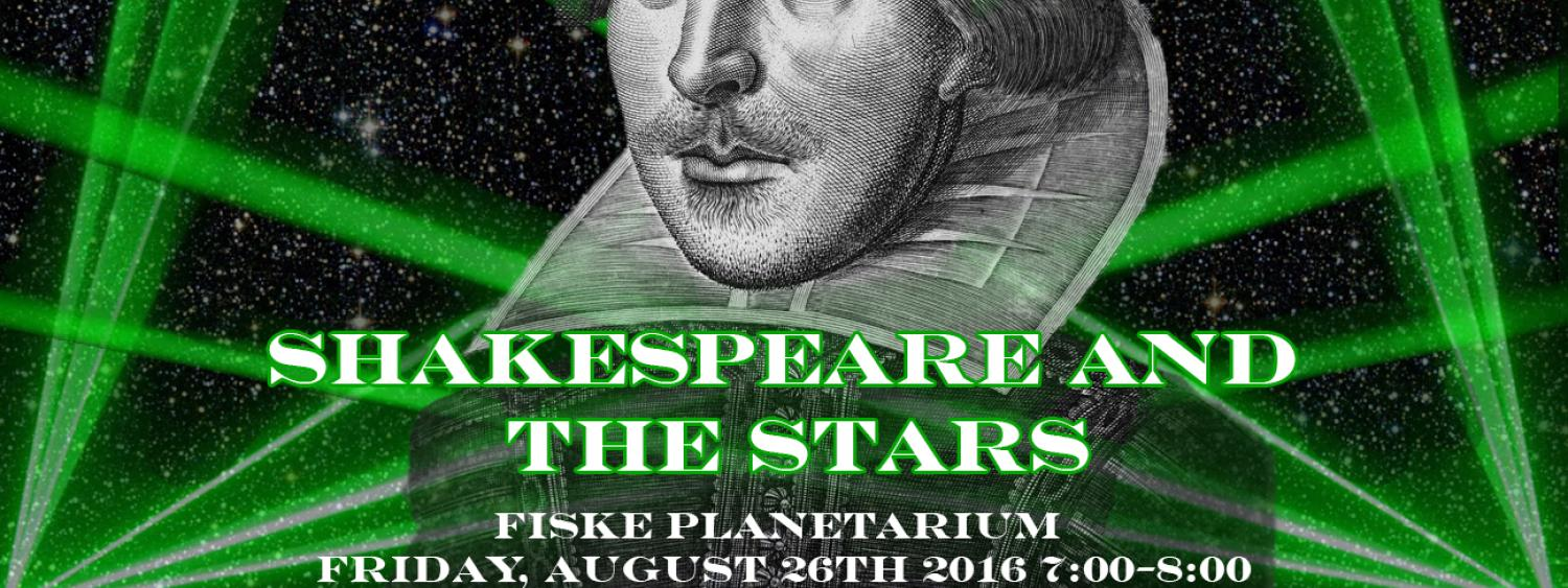 Shakespeare with a background of lasers.