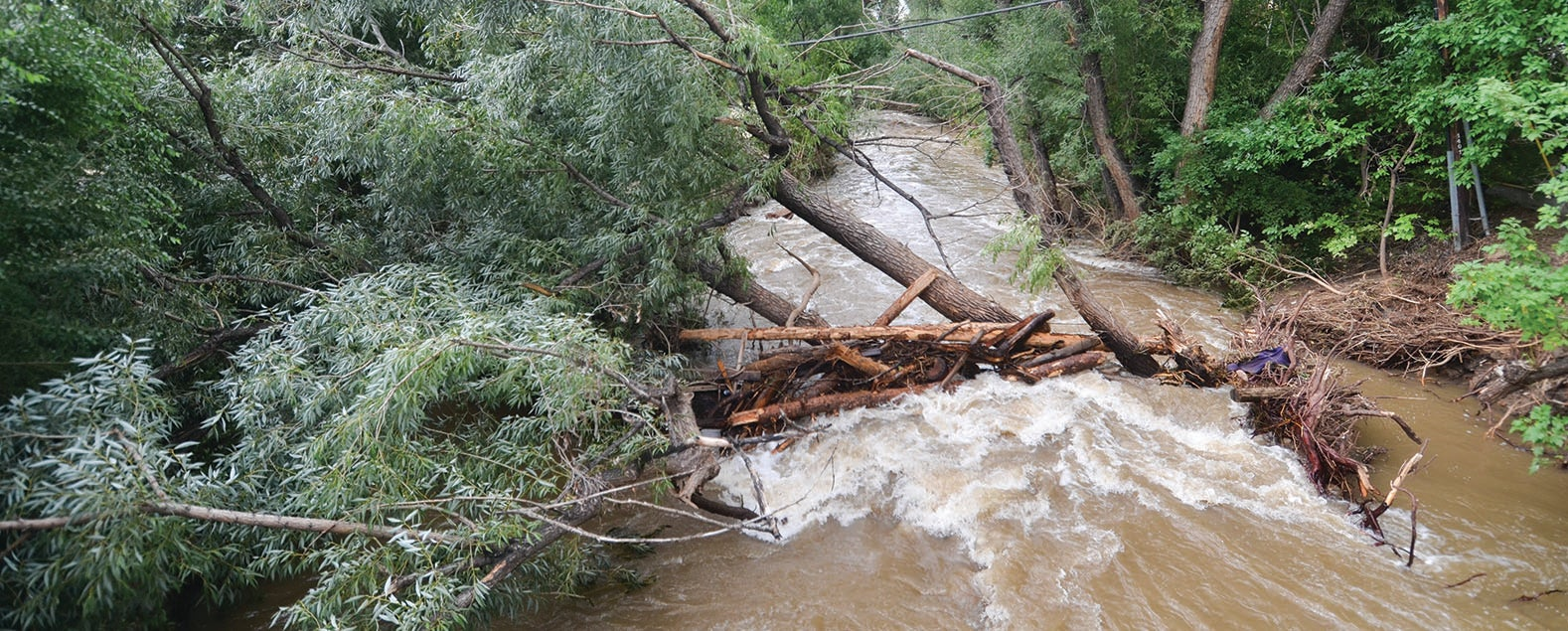 Boulder Creek overflowing its banks during the 2013 flood