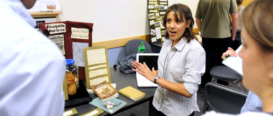 Girl presenting a project