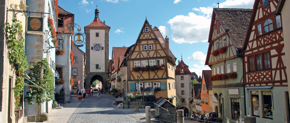 Scenic view of small german town